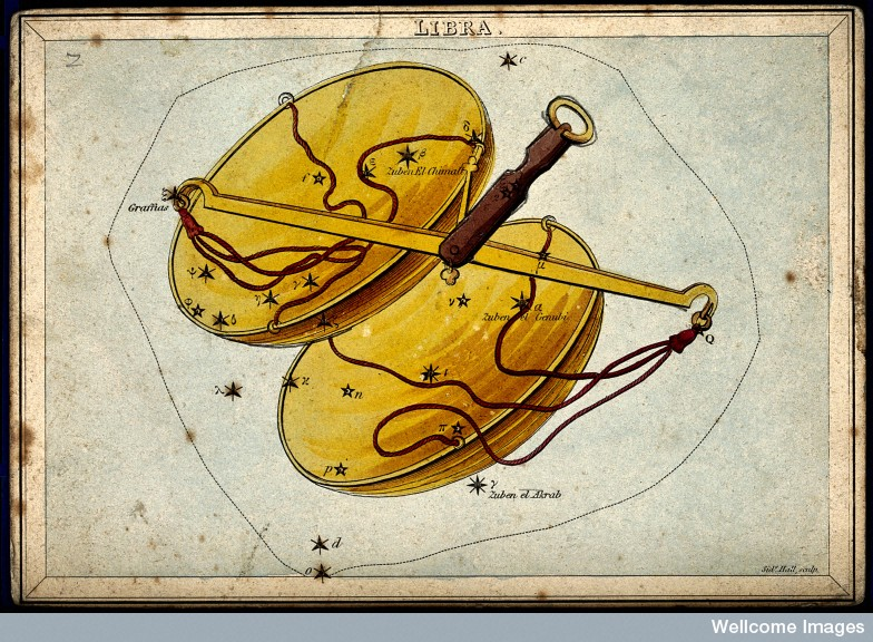 V0024921 Astrology: signs of the zodiac, Libra. Coloured engraving.